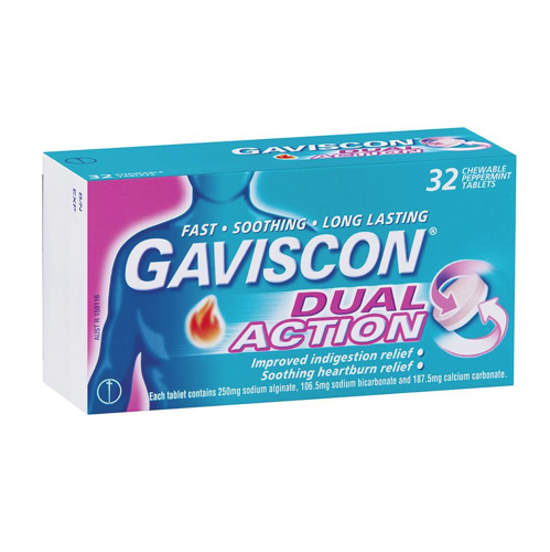 GAVISCON Dual Action Chewable Tablets, 32's
